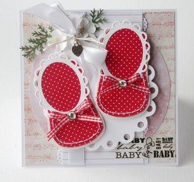 handmade baby bootee card