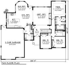 First Floor Plan of Ranch House Plan 96129
