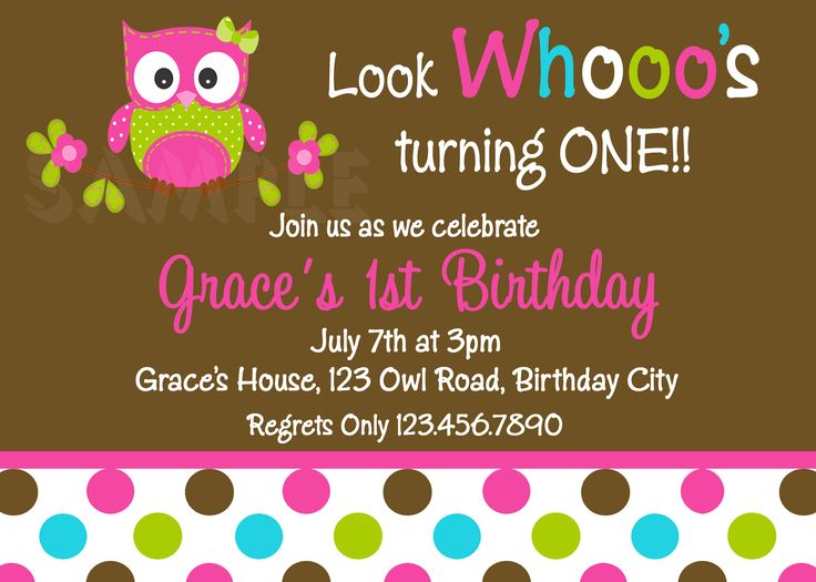 Free Owl Birthday Invitations | Printable 1st Birthday Invitations, Girls Owl Party