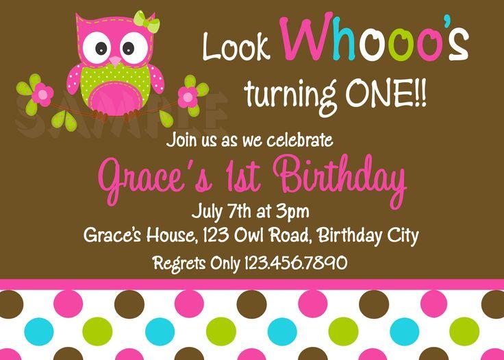 Free Owl Birthday Invitations | Printable 1st Birthday Invitations, Girls Owl Party