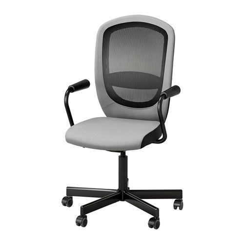 IKEA - FLINTAN / NOMINELL, Drehstuhl mit Armlehnen, grau, , Der Wippmechanismus passt sich automatisch dem Körpergewicht und der Bewegung an. So kann man sich entspannt zurücklehnen und bleibt im Gleichgewicht.Die Sitzfläche lässt sich auf bequeme Arbeitshöhe einstellen.Die integrierte Lendenwirbelstütze entlastet und stützt das Rückgrat.Für erhöhte Stabilität lässt sich die Wippfunktion arretieren.Rückenlehne mit Netzgeflecht für gute Ventilation auch bei längerem Sitzen.Sorgt für…