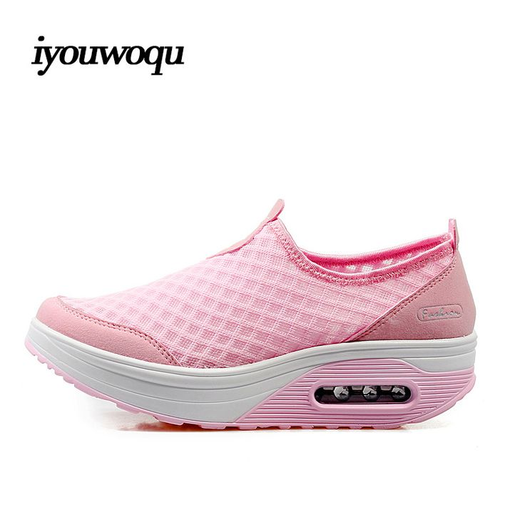 Мода большой размер 35-42 кроссовки женские Обувь 2016 Летний Новый Дышащий Высота Увеличение туфли на танкетке Качели розовый 7663 туфли женские