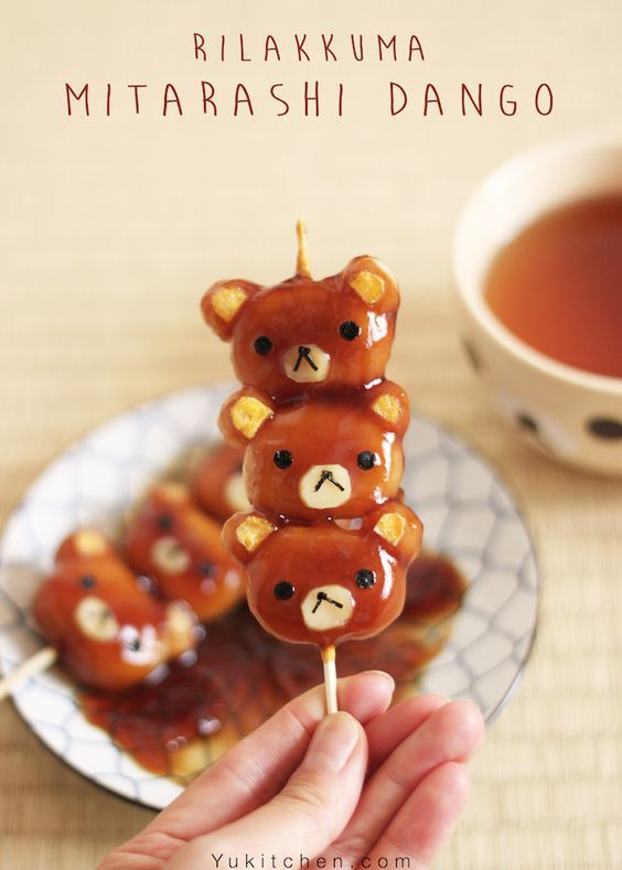 """(1) The good old Japanese sweets """"Mitarashi Dango"""" , Rilakkuma version! Enjoy the step-by-step instruction of how to create this cuteness. 