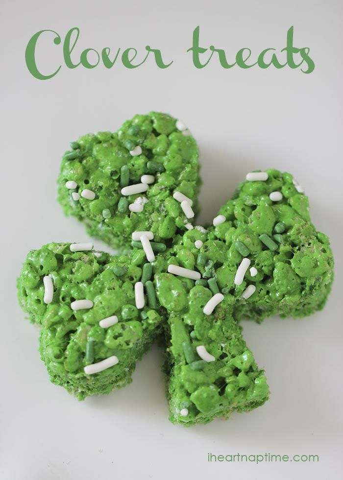 Clover treats on I Heart Nap Time ... so cute!Heart Naps, Clovers Rice, Diy Crafts, Clovers Treats, Saint Patricks Day, St Patricks Day, Naps Time, Rice Crispy Treats, Rice Krispie Treats