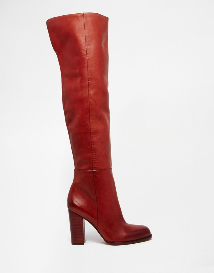 Sam Edelman Rylan Rust Red Leather Heeled Knee Boots