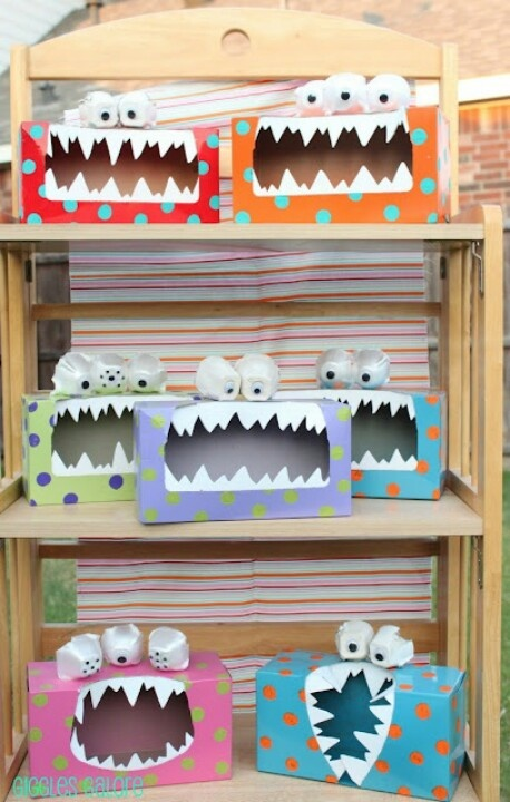 shoe box monsters - would be great to hand out candy in during Halloween, trick-or-treaters have to stick their hands inside the monster's mouth. :)