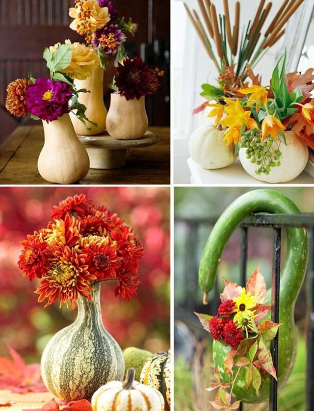 Herbstdeko Kürbis aushöhlen Vase basteln