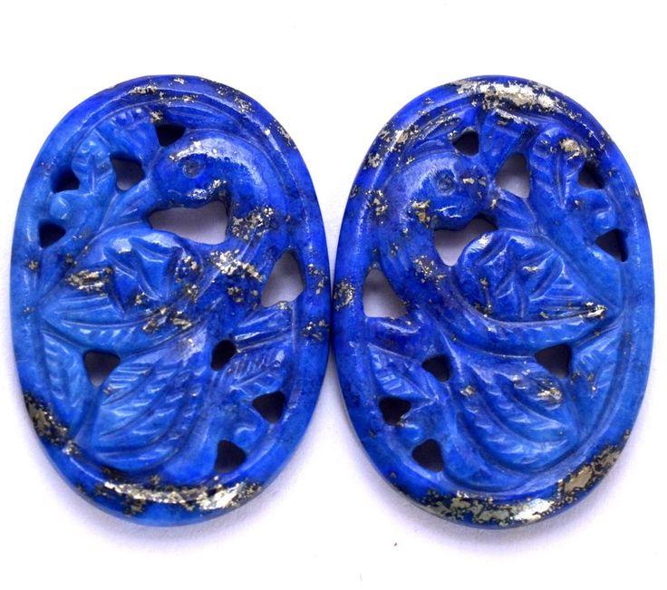 34.39 Cts Natural Lapis Lazuli Hand made carving Pair 30x20 mm Loose Gemstones #SBIGems