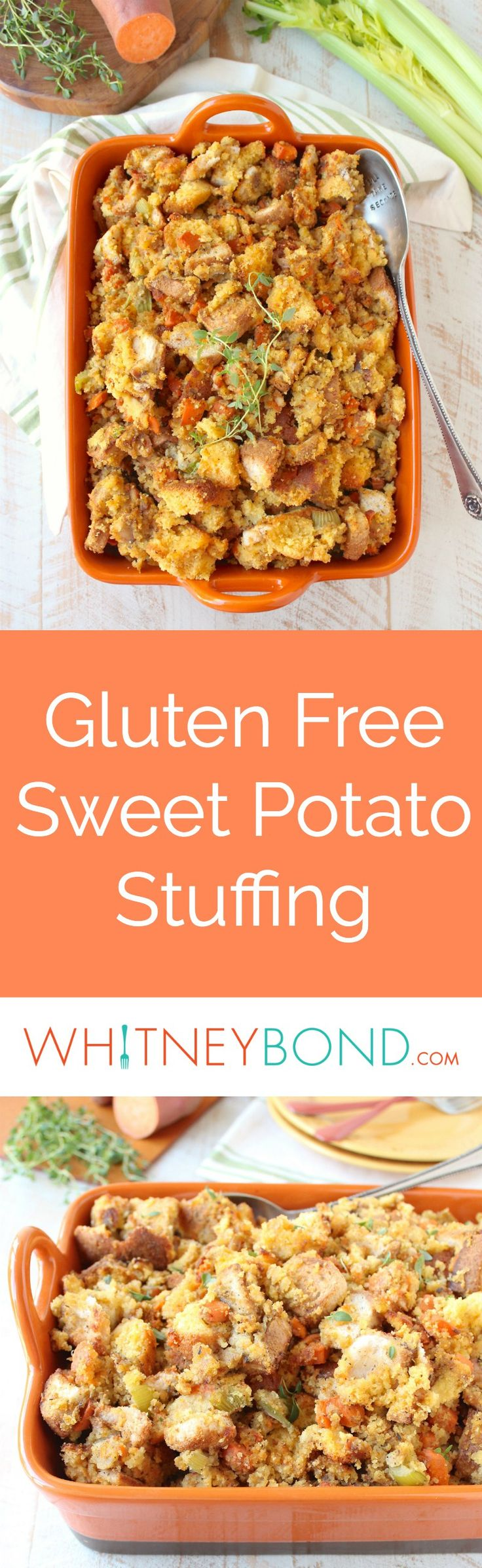 The most delicious and easy Gluten Free Stuffing Recipe made with gluten free cornbread, white bread and sweet potatoes! #GlutenFree #GlutenFreeStuffing #Thanksgiving #Vegetarian