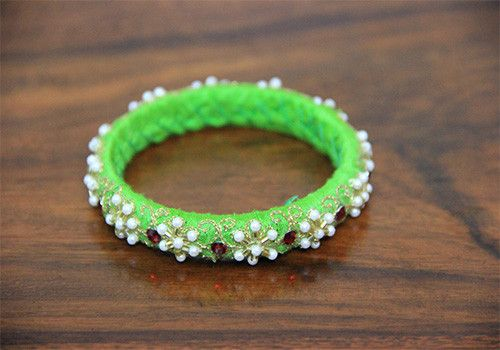 Thin Light Green Zardozi Bangle – Desically Ethnic
