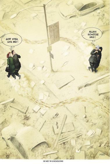 """Haderer-Karikatur vom 10. Jänner 2015: """"Die Welt im Schockzustand"""" Mehr Karikaturen auf: http://www.nachrichten.at/nachrichten/fotogalerien/cme14862,1195451 (Bild: Haderer)"""
