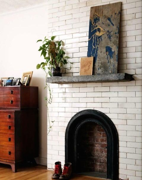 White brick fire place