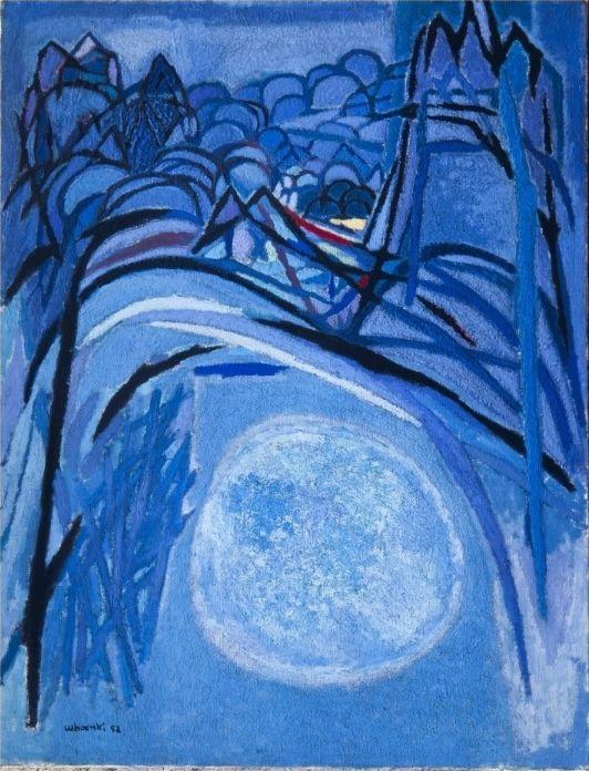 (Korea) Mountain & Moon 산월(1958) by Whanki Kim