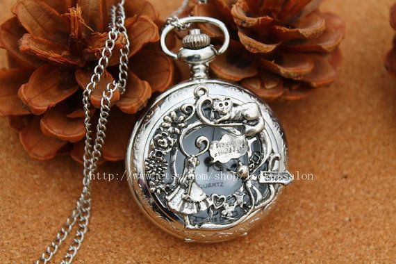 silver Alice in Wonderland Pocket Watch Necklace Jewelry Pendant men's gift on Etsy, $3.60