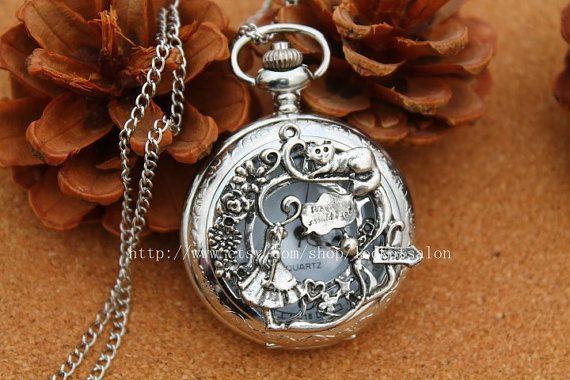 silver Alice in Wonderland Pocket Watch Necklace Jewelry Pendant men's gift