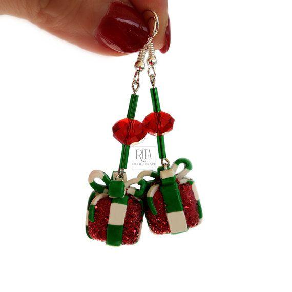 CHRISTMAS EARRINGS. Polymer clay FIMO jewelry. Charm earrings.