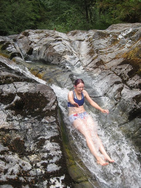 OREGON.Natural waterslide on the Little North Santiam River at one end of the Opal Creek hike