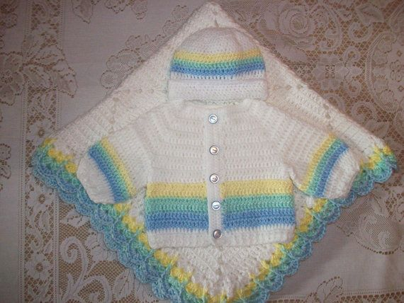 a55cb9f21b2a Crochet Baby Boy Sweater Set Hat and Booties Pastel Rainbow Layette ...