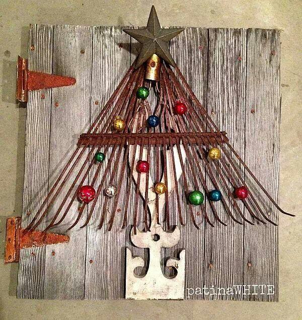 Rake Christmas tree rustic wall art