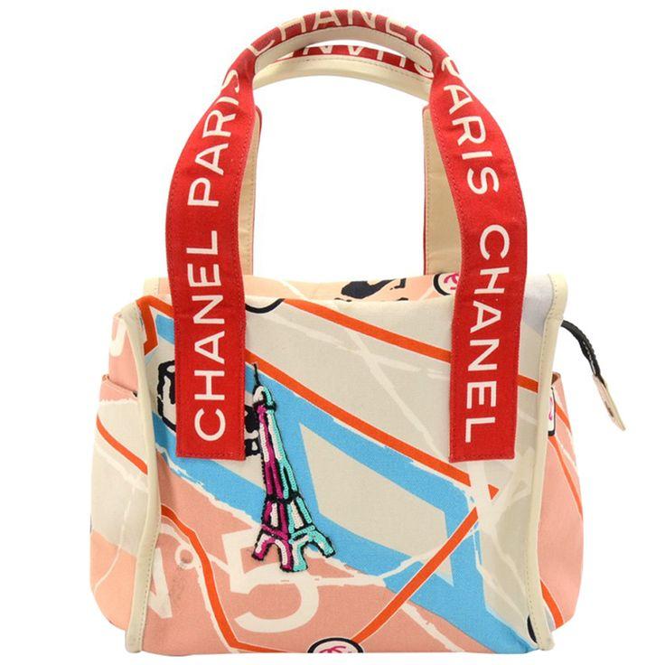 Buy Chanel Multicolor Printed Canvas Eiffel Tower Bag