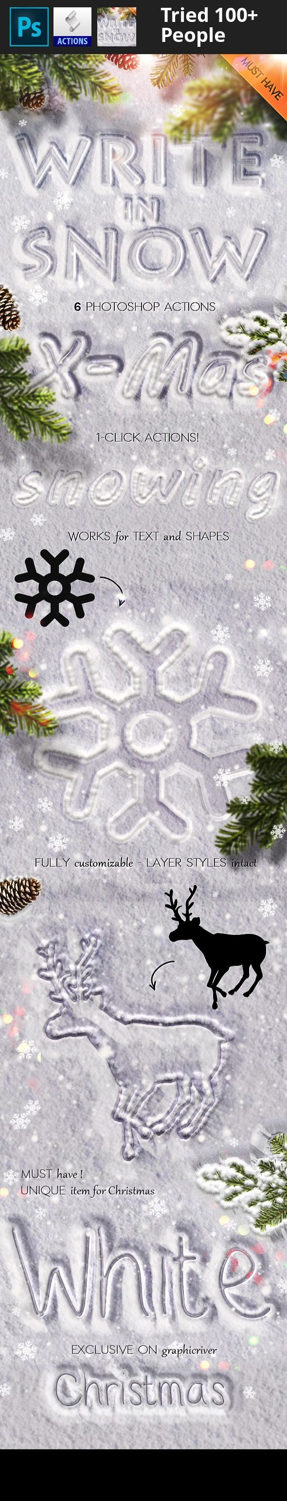 """christmas snow text, Christmas text effect, create snow text, falling snow effect, falling snow photoshop, snow christmas text, snow effect, snow photoshop, snow photoshop style, snow text, snow typography, snow writing, snow writing photoshop, white christmas, write in snow, write in snow photoshop       This set contains 6 Photoshop actions plus a bonus action with styles intact that will allow you to create realistic """"snow writing"""" or """"write in snow"""" effects out..."""