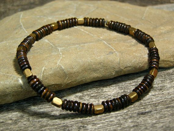 Mens Beaded Bracelet Stretch Bracelet Bracelet by StoneWearDesigns