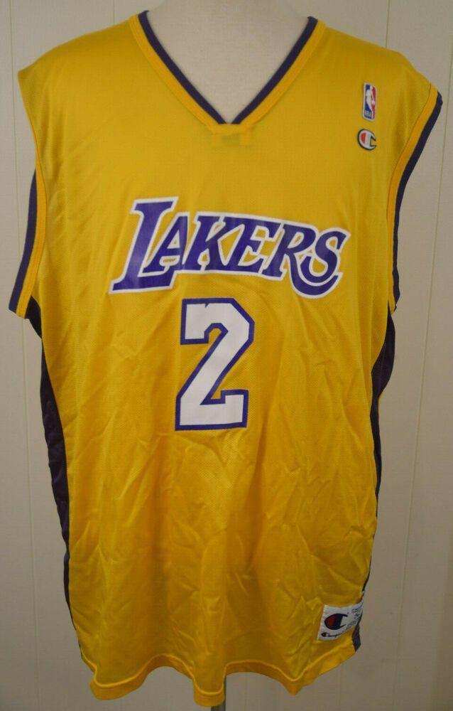 9d3ff7ec452 Vintage Champion Los Angeles Lakers Jersey  2 Derek Fisher NBA 2XL XXL (52)  gold  Champion  LosAngelesLakers