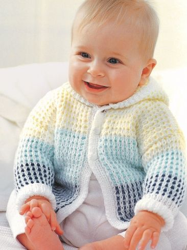 Hooded Cardigan for Baby Free baby sweater knitting patterns at http://intheloopknitting.com/free-baby-and-child-sweater-knitting-patterns/
