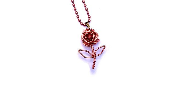 Rose Necklace Wire Wrapped Copper Rose Pendant Handmade Nature