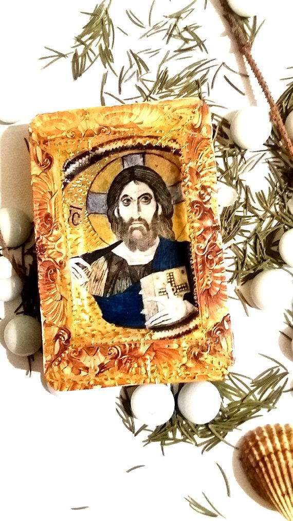 Religious Icons, Christian Icons, Saints, Christ, Jesus, handmade icon, christian icons, icons religious, gifts, saints icons. Byzantine This icon is a work of art. I used decoupage technique combined with acrilic painting and than I varnished it. Its beautiful