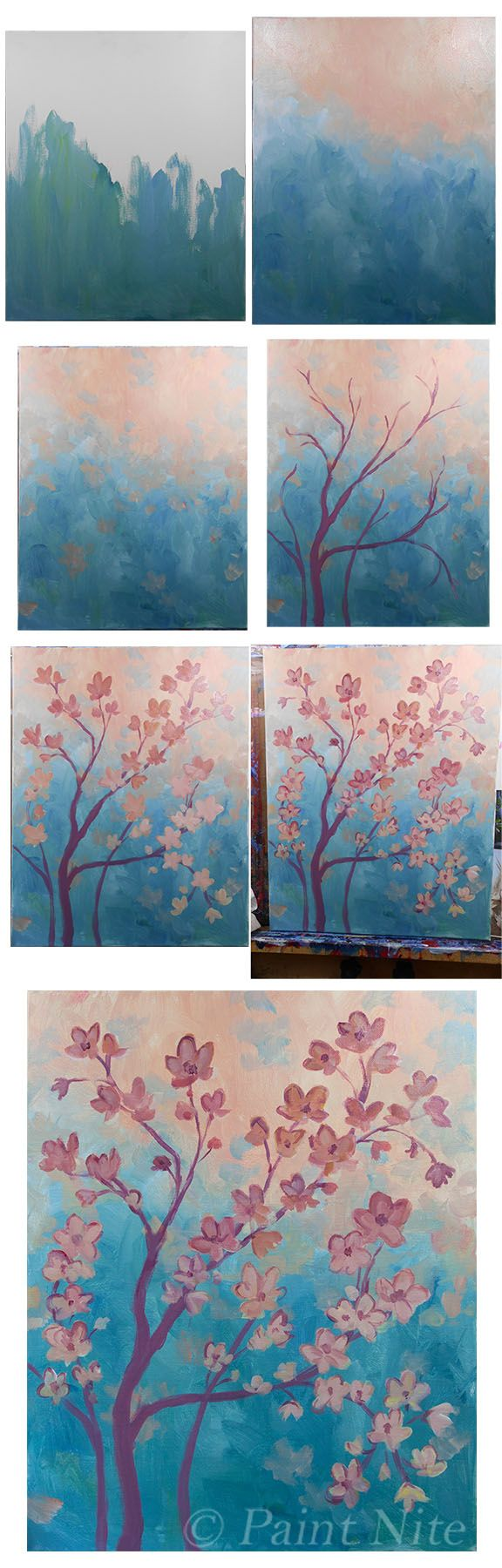 Orange Blossoms-  Colors- ultra. blue, Red, yellow, white.  Brushes: Big flat, medium and small rounds.