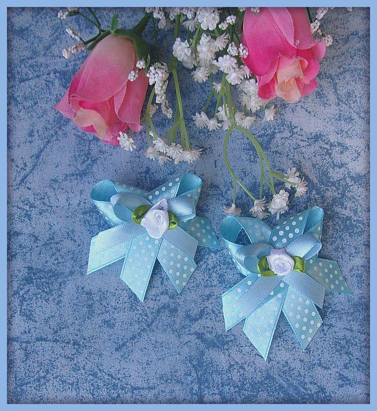 Noeuds double satin bleu pois blanc demi perle ronde nacré ivoire : Déco, Customisation Textile par orkan28