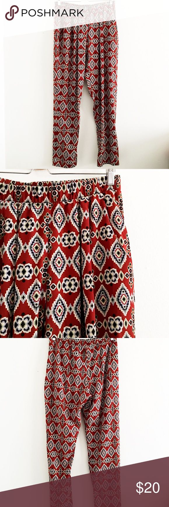 Fun Aztec Print Pants The pants are fun and comfortable! Love the Aztec print and tapered pant style. Perfect for traveling so you can be stylish and comfy. 100% polyester bobeau Pants