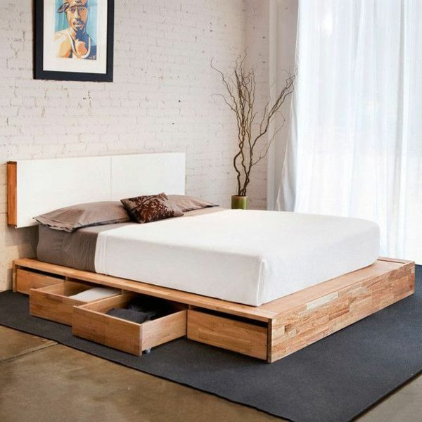 kopfbrett im wei und schubladen f r ein super bett modernes schlafzimmer design kreative. Black Bedroom Furniture Sets. Home Design Ideas