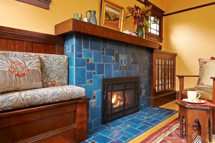Motawi caribbean blue collage fireplace by michelle for Craftsman style flooring