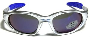 Killer Loop brand sunglasses (sort of like this) wraps around the side, with a bright blue sunglass