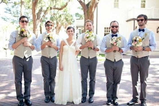 picture of groomsmen as your bridesmaids (then picture of bridesmaids as groomsmen, wearing their jackets) =]