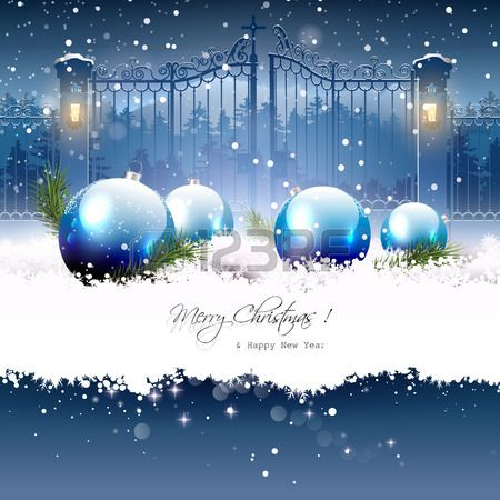 Christmas greeting card with blue gifts in the snow and open gate on the background