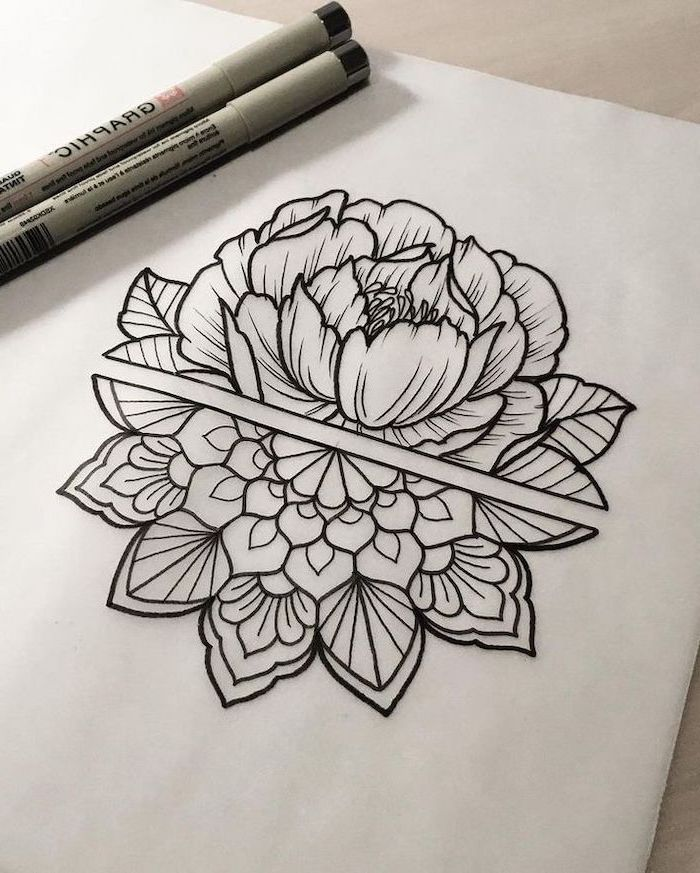 Half Lotus Half Mandala Black White Sketch What Does Mandala Mean Markers White Background In 2020 Tattoos Trendy Tattoos Tattoo Fonts