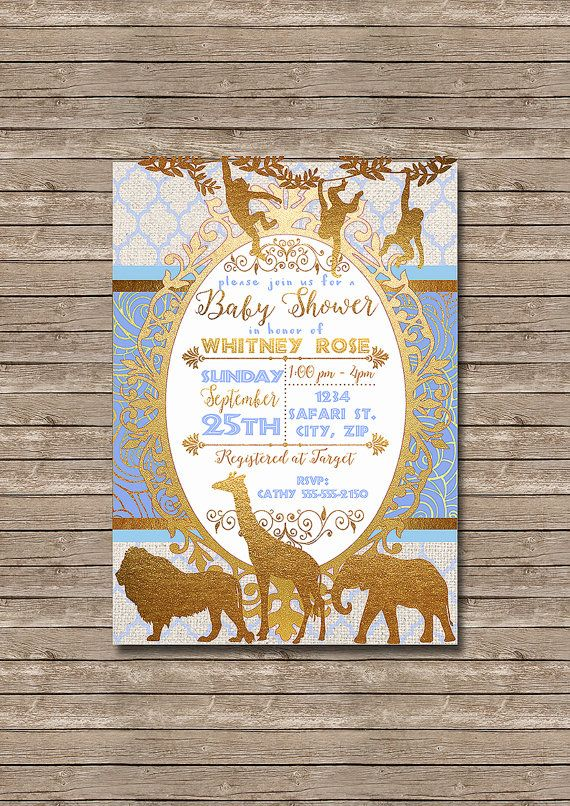 Golden Safari Blue And Gold African Animals Baby Shower