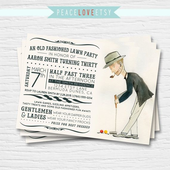 Croquet Lawn Party Birthday Invitation 5x7 Old by PeaceLoveEtsy