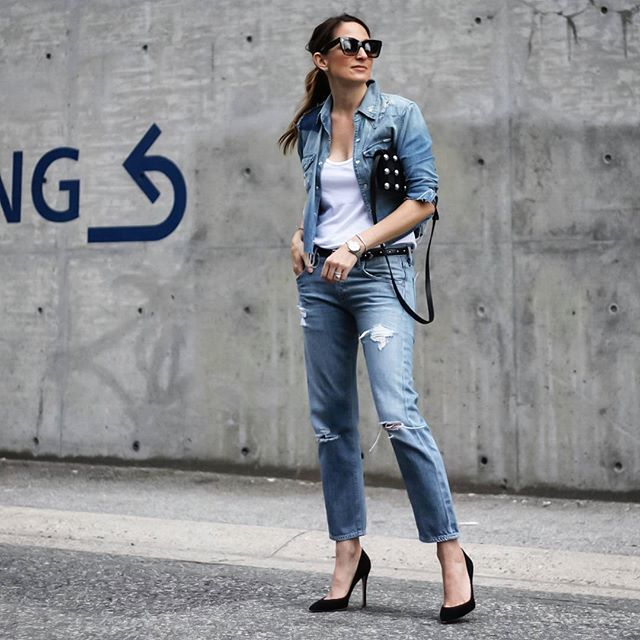 Celebrating Canada's 150th with my Canadian tuxedo! I love a denim on denim look, but this time it's particularly fitting.