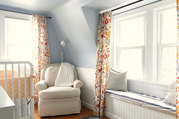 Violet's Nursery {via with two cats}: Wall Colors, Curtains, Idea, Blue Wall, Colors Schemes, Baby Rooms, Window Seats, Baby Nurseries, Kid