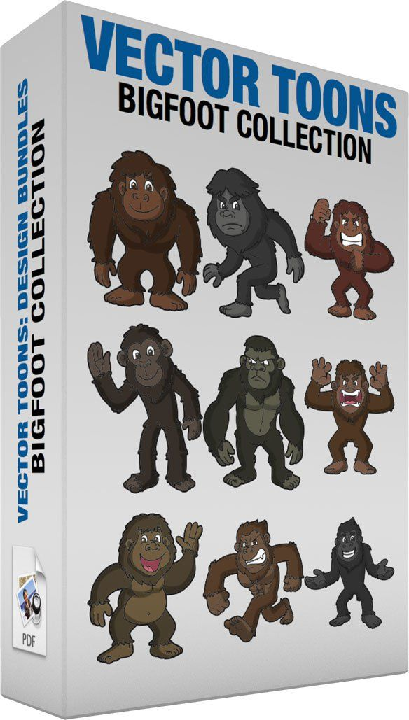 Bigfoot Collection:   Bundle of images includes the following:  A Nice Happy Bigfoot A bigfoot with brown fur brown skin smiling ahead  An Angry Bigfoot A bigfoot with dark gray fur gray skin frowns while walking away  A Strong Bigfoot A bigfoot with brown fur and skin grits its teeth while pumping its fist on its chest in anger  A Charmingly Warm Bigfoot A bigfoot with dark brown black fur dark brown skin smiles while waving hello  An Annoyed Bigfoot A bigfoot with dark grayish green fur…