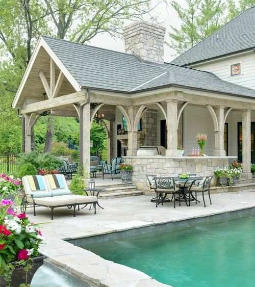 Covered Porch with built-in BBQ