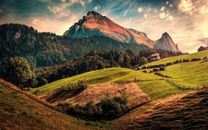 Lataa kuva Toggenburg, vuoret, sunset, hills, metsä, Alpeilla, St Gallen, Sveitsi