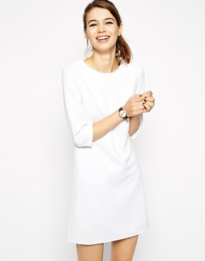 Cute for a city hall wedding. ASOS 60's Shift Dress in Rib with 3/4 Sleeves