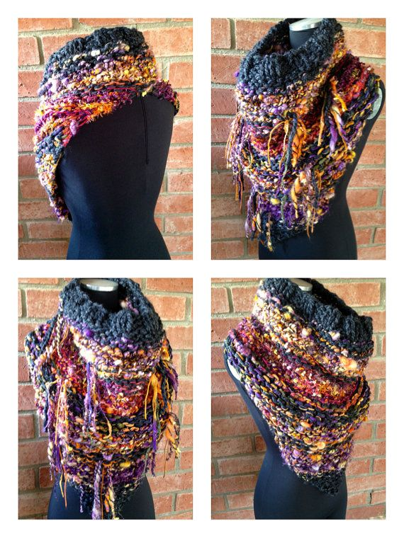 Cowl on Pointe Bandana Style Fringed Cowl Caplet by CharMedFibers