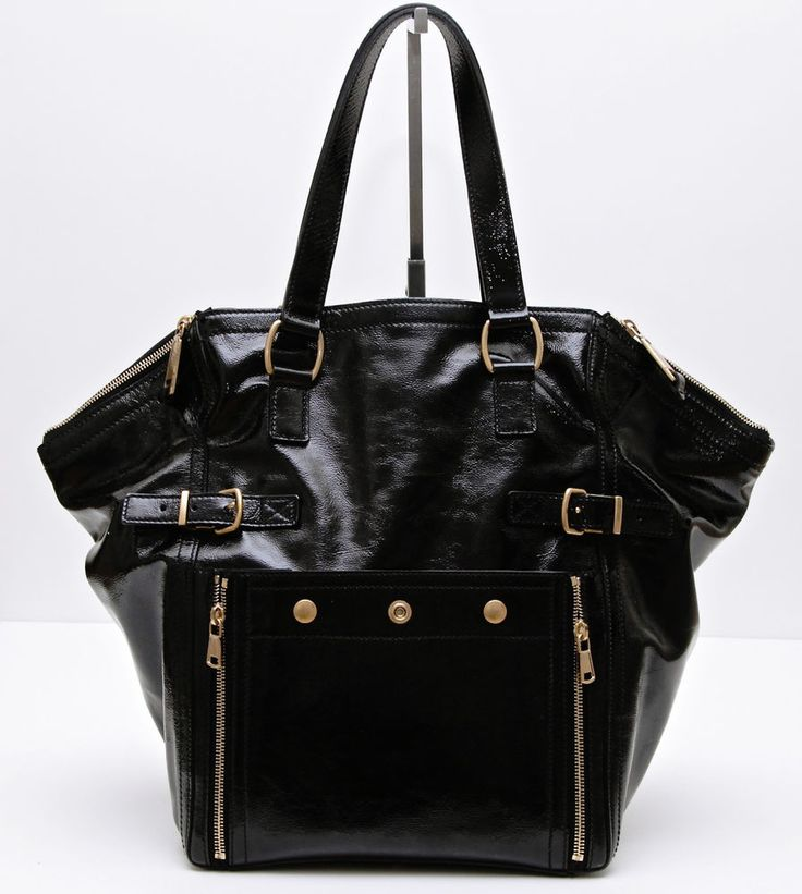 YSL Yves Saint Laurent Black Patent Leather Downtown Large Tote ...