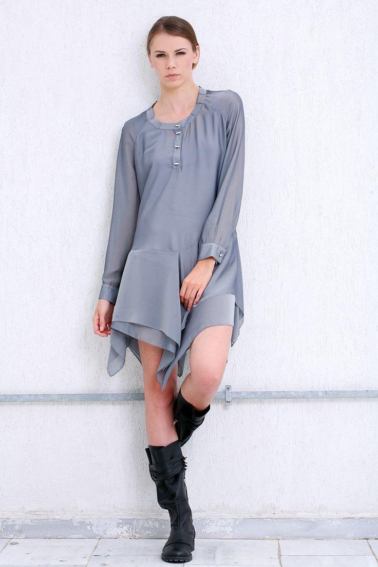 Multifunctional silk and voile dress